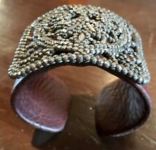 France Cut Steel Buckle and Leather Bracelet/Cuff