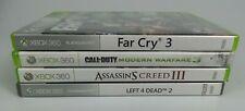 4pc XBOX 360 Games Far Cry 3 Call of Duty American Warfare Creed III Left 4 dead