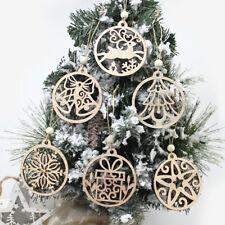 Crafts Snowflake Wood Chip Christmas Decorations Hanging Ornaments Xmas Tree