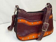 Vtg Handmade 2-Tone STUDDED Leather Hand Bag HIPPIE BoHo WESTERN Shoulder Purse