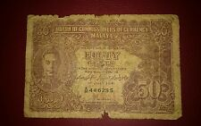 1941 MALAYA Straits Settlement KING GEORGE fifty 50 cents  A26 G banknote tear