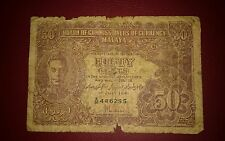 1941 MALAYA Straits Settlement KING GEORGE fifty cents 50c A26 G banknote tear