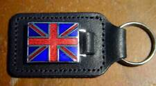UNION JACK, Leather Stiched Key Tag, Key Fob, UK Made
