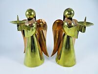 "Vintage Metal Angel Candle Holders Copper & Brass Matching Pair 6.25"" High"