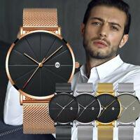 Männer Business Edelstahl NetzwerkBand Casual Quarz Analog Armbanduhr