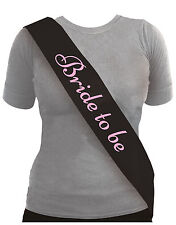 BLACK BRIDE TO BE SASH WITH PINK LETTERS HEN PARTY ACCESSORY