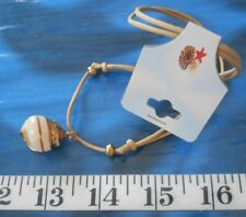 """~ Seashell Necklace ~ Black Braided Slide ~ 12"""" to 24"""" ~ Ivory Snail Shell ~"""