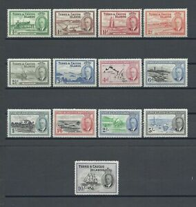 TURKS & CAICOS 1950 SG 221/33 MNH Cat £85