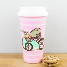 New Pusheen Kitty Cat Let's Go Pink Striped Travel Mug Reusable Coffee Cup & Lid