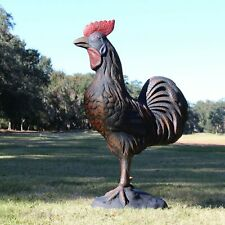 """Rooster Statue Hand Painted Standing Sculpture Farm Barnyard 46"""" Tall"""