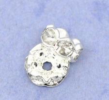 100 Perles Intercalaires Rondelles Strass Argenté 6mm