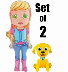 (Set of 2) 36'' Cutie Girl & her  24'' Yellow Dog Inflatable Party Decorations