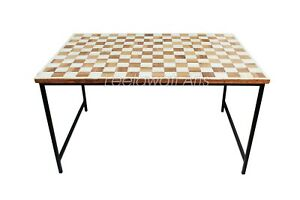 Handmade Bone Inlay Chess Design Antique Coffee Table With Black Iron Legs