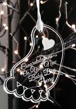 Acrílico Grabado Personalizados Adorno Bebé Pie felicitaciones Regalo Primera Navidad