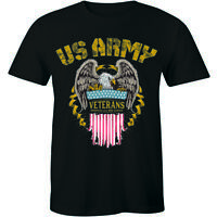US ARMY VETERAN Shirt Military Proud To Have Served Eagle Flag Men's T-shirt Tee