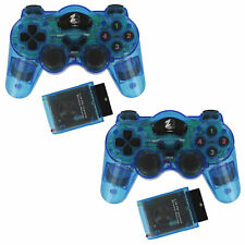 Wireless Controller for Sony Ps2 Shock Vibration Gamepad - 2 Pack Blue | ZedLabz