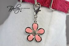 Pink Flower w/Rhinestone Accent Dog Cat Pet Tag Collar Charm