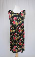 Reformation 🌹Black and pink rose Floral Print Floaty Smock  Dress Sz Small