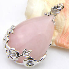 Luxury Jewelry Water Drop Natural Rose Quartz Gems Silver Necklace Pendants Gift