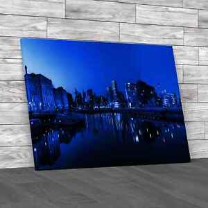 Panoramic View Of Liverpool Skyline Blue Canvas Print Large Picture Wall Art