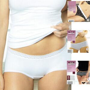 Damen Vorteilspack Slip Panty String mit Spitze Unterwäsche Unterhose Öko-Tex