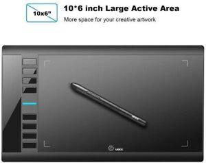 UGEE M708 Grafik-Zeichentablett, 10 x 6 Zoll Grafik-Tablet mit 8 Tastenko.(1056)