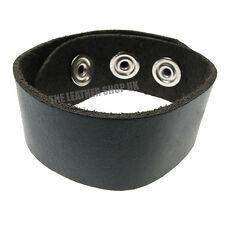 Pour Hommes Femmes Noir Clair Bracelet De Poignet Rond Bouton Pression Cuir