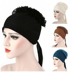 Women Cotton Lace Flower Muslim Hijab Islam Cap Under Scarf Headcover Headwear