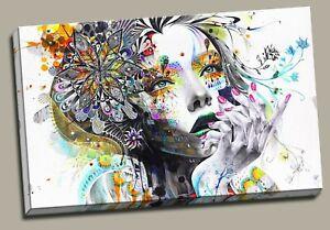 Urban Butterfly Princes Framed Canvas Graffiti Girl Face Wall Art Print Wall