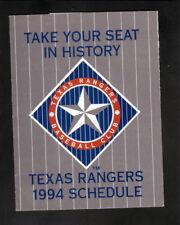 Texas Rangers--1994 Pocket Schedule--Fina/Dr Pepper