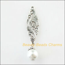 10Pc Tibetan Silver Tone Clouds Flower White Glass Beads Charms Pendant 9.5x42mm
