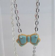 Mint Green Iced Sugar Cookie Biscuit Bow Pendant Necklace E070 Cute Kawaii