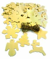SET OF 50 MIXED WOODEN CHRISTMAS TREE DECORATION SHAPES TO PAINT & GOLDEN CORD