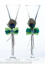 Peacock Feather Toasting Glasses Wedding Flutes