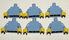 LEGO LOT OF 6 NEW MINIFIGURE PLAIN SAND BLUE TORSOS SHIRT FOR GIRL BOY FIGURES