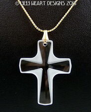 "m/w Swarovski Laliqe Frosted Cross on Gold Plated 18"" Chain Lilli Heart Designs"