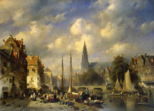 Oil Charles Henri Joseph Leickert - Urban Landscape Open-air markets by river