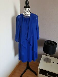 Vera Mont Kleid Gr 44 blau Cocktailkleid inkl Bolero Set Transpa. mit Unterkleid