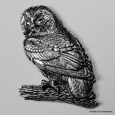 Tawny Owl Pewter Brooch Pin -British Artisan Signed Badge- Falconry Bird of Prey