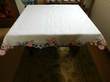 Vintage hand embroidery linen tablecloth Irish Linen 104 cm x 104 cm