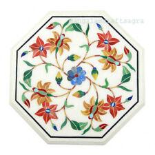 "12"" marble Side table top semi precious stones pietradura inlay Handmade decor"