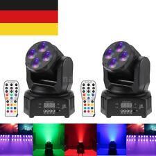 2Stk Moving Head 50W Wash RGBW Bühnen Licheffekte Remote 9/15CH DMX Disco V9C4