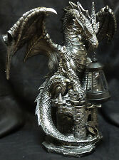 "DARK BEACON   Dragon on Castle w/ Solar Lantern    H23 ""  Statue"
