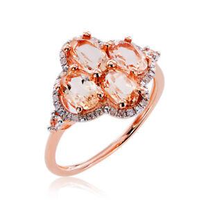 10k Rose Gold Morganite, White Topaz, and Diamond Accent Ring
