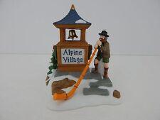 Dept 56 Alpine Village Alpenhorn Player AV Sign #56182 Good Condition
