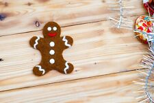 Gingerbread Man Needle Felted Christmas Tree Ornament Winter Party Decorations