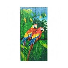 Bamboo Bead Curtain Room Divider Twin Parrots Tropical Wall Door Hanging Panel