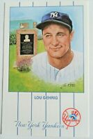 Historic Limited Editions Lou Gehrig NY Yankees Monument Park Art Postcard