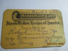 1928 Izaak Walton League of America Membership Card Evansville Illinois