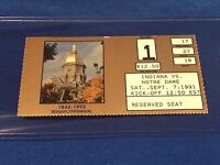 Indiana vs Notre Dame Football Ticket Stub - September 7, 1991 Golden Dome